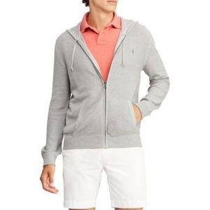 NWT Ralph Lauren LS Zip Up Pima Sweater Gray NEW